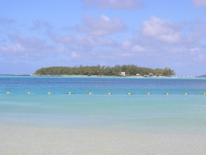 L'îlot Deux Cocos depuis la plage de Blue Bay